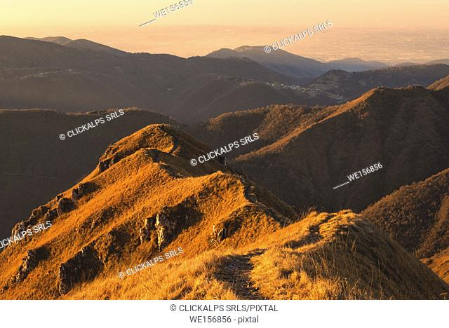 Profile at dawn, Brescia Prealpi, Brescia province, Lombardy district, Italy, Europe