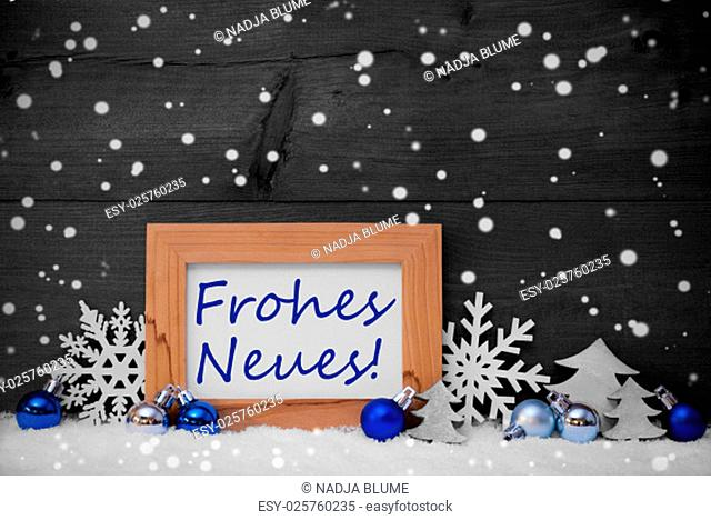 Blue Gray Decoration On Snow. Christmas Tree Balls, Snowflakes And Christmas Tree. Picture Frame. German Text Frohes Neues Mean Happy New Year