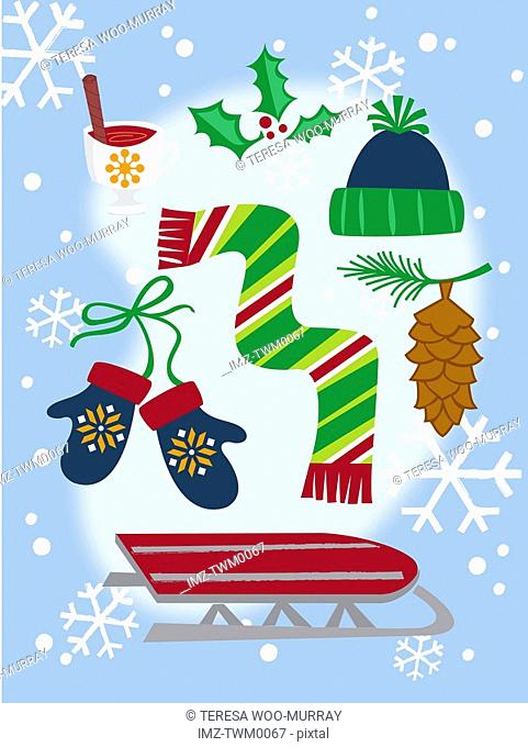 A collection of winter themes Christmas icons including a sled, gloves, scarf, snow, holly branch and pine cone