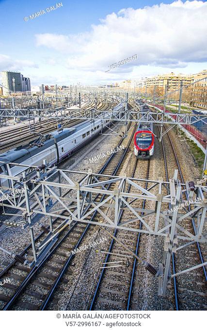 Tracks near Puerta de Atocha Railway Station. Madrid, Spain