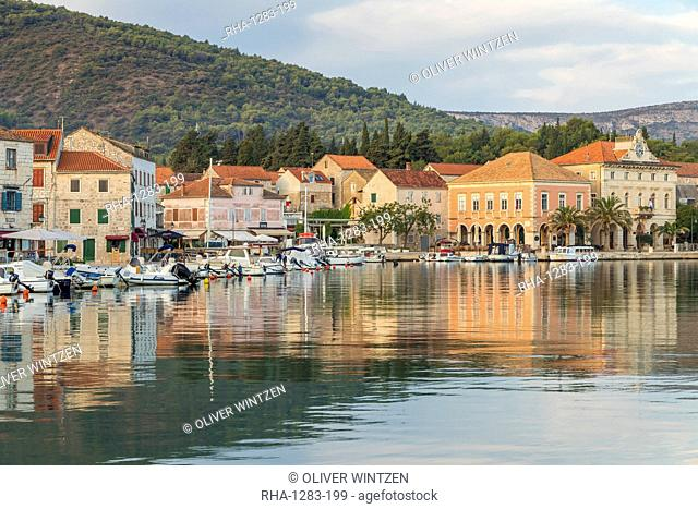 View over the old town of Stari Grad on Hvar Island, Croatia, Europe