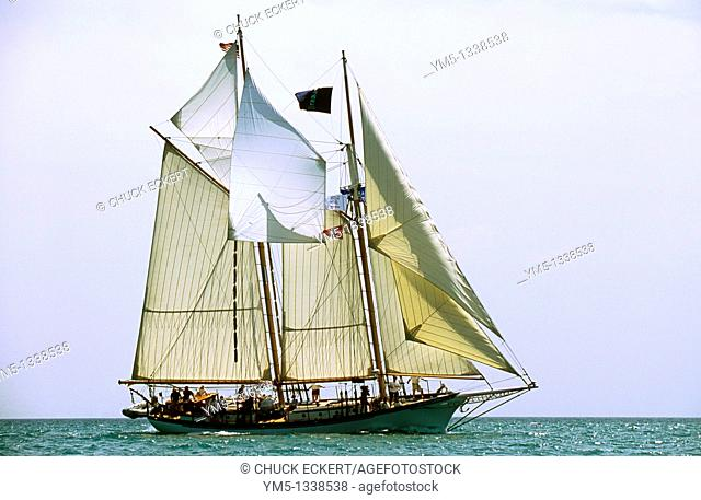 Tall ship off the coast of Chicago on Lake Michigan