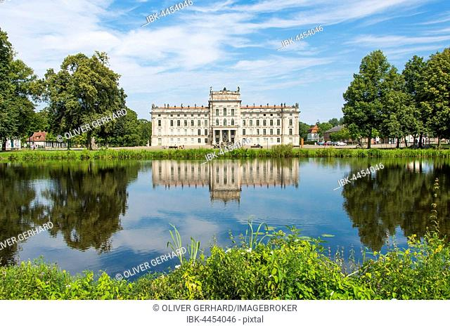 Ludwigslust Castle with pond and water reflection, Ludwigslust, Mecklenburg-Western Pomerania, Germany