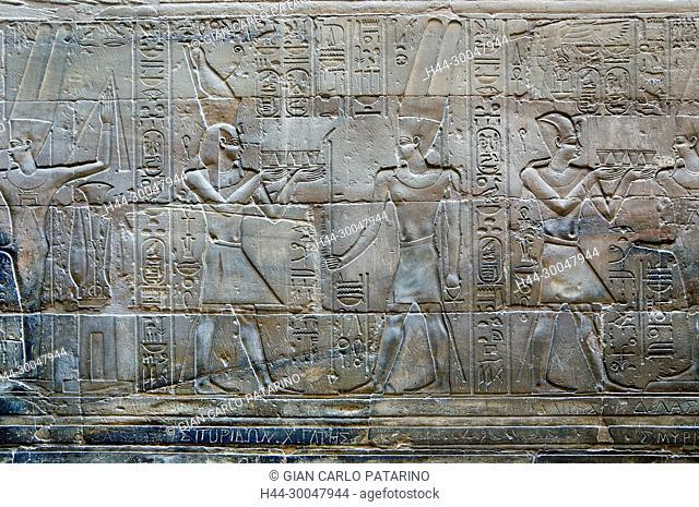 Luxor, Egypt. Temple of Luxor: the pharaoh incenses gods