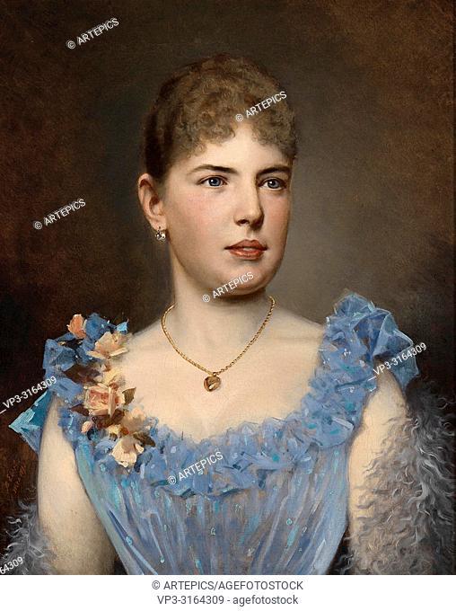 Ebert Anton - Portrait of a Lady in a Blue Dress
