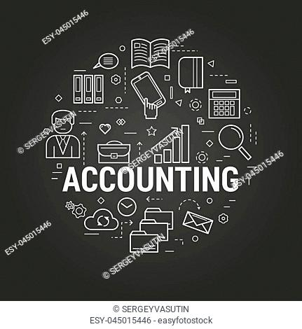 Vector round concept of Financial Freedom or accounting service in thin line style. Money, businessman, device and computer icons on a black chalkboard
