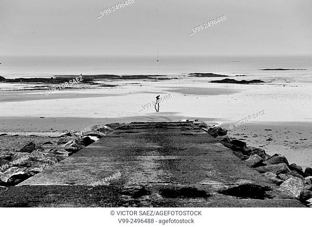 jogger alone on the beach