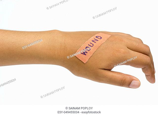 Medical plaster on the wound in women hand on white background