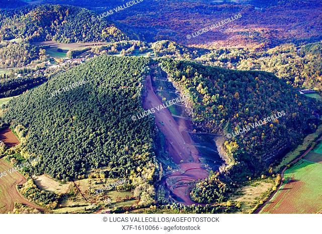 On balloon over Croscat volcano,Garrotxa Natural Park,Girona province  Catalonia  Spain
