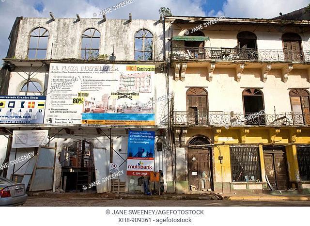 Old houses being reconstructed, street on Plaza Herrera, Casco Viejo, Panama City, Panama