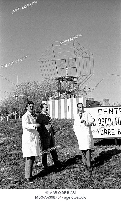 Italian brothers and radio amateurs Achille and Giovanni Battista Judica Cordiglia standing in front of Bert Tower, their space listening centre created to pick...