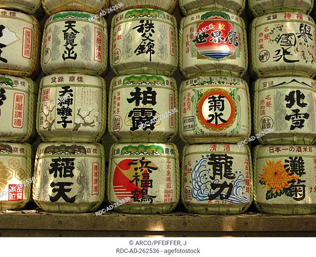 Painted Sake barrels sacrificial offering at shinto shrine Meiji Shrine Tokyo Japanbarrel