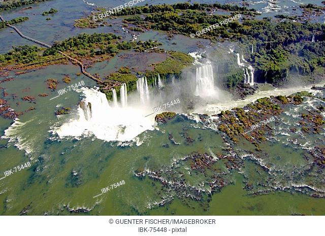Devil's throat Iguazu Waterfalls aerial view Argentina Brazil