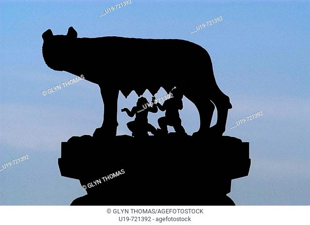 Statue of Romulus and Remus suckling silhouetted, Capitoline Hill, Rome, Italy, Europe
