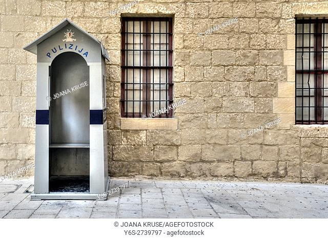 police booth in a small alley in Mdina, Malta