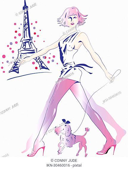 Sexy woman walking her dog in Paris