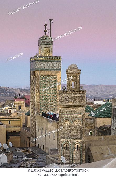 At right minaret of Sidi Lazaze, at left minaret of Medersa Bou Inania, Medina, Fez, Morocco