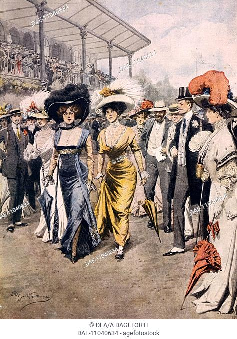 Social scandal in Paris: women appearing in public in daring and provocative clothing. Illustrator Achille Beltrame (1871-1945), from La Domenica del Corriere