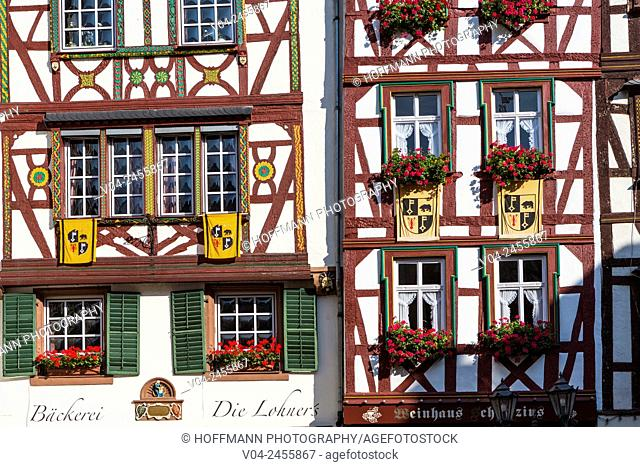 Close up of picturesque timbered houses in the beautiful village of Bernkastel-Kues, Rhineland-Palatinate, Germany, Europe