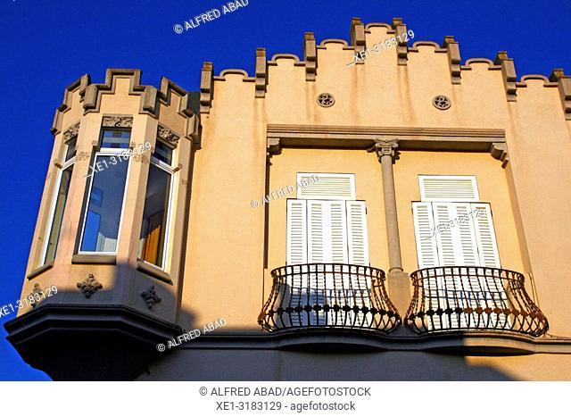 modernist balconies of the Mas Ros House, Caldes de Malavella, Catalonia, Spain