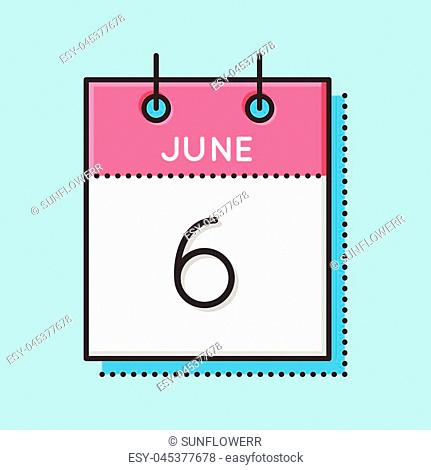 Vector Calendar Icon. Flat and thin line vector illustration. Calendar sheet on light blue background. June 6th