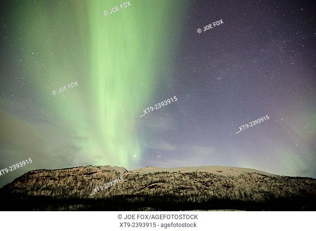 view of thick green band of northern lights aurora borealis near tromso in northern norway europe