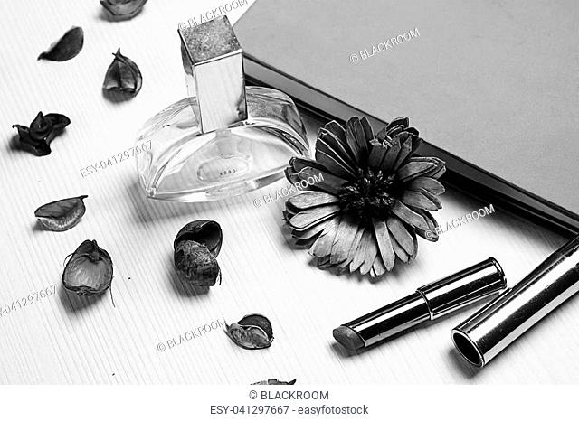 stationery lying on the table black and white poster