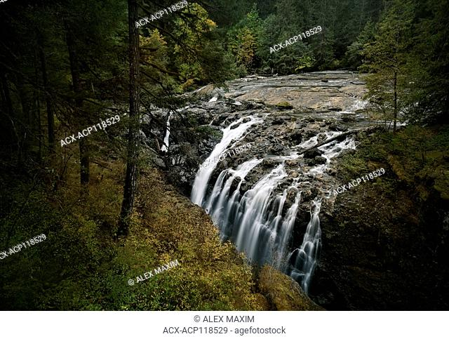 Autumn nature scenery of Waterfall in Englishman River Falls Provincial Park. Errington, Vancouver Island, British Columbia, Canada