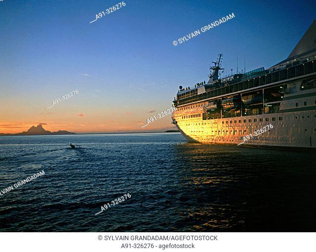 Bora Bora island at back, Windward islands. Cruise on the MS Paul Gauguin. French Polynesia