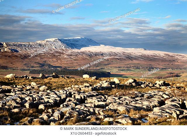 Wherside in Winter and Limestone Pavement at Southerscales Chapel le Dale Yorkshire Dales England