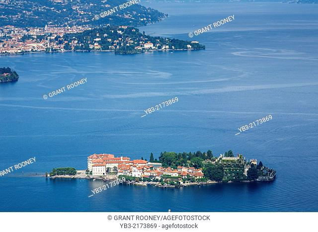 Aerial View of The Isola Bella, Lake Maggiore, Lombardy, Italy