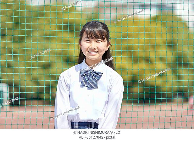 Japanese junior-high schoolgirl in uniform