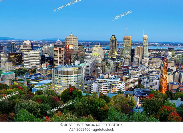 Canada , Quebec Province , Montreal City , Montreal City Skyline from Mont Royal Belvedere