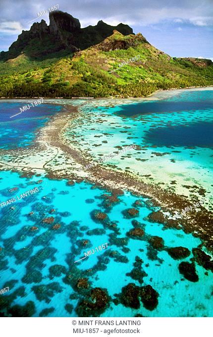 Mt O'Tehanu and barrier reef aerial, Bora Bora, Tahiti