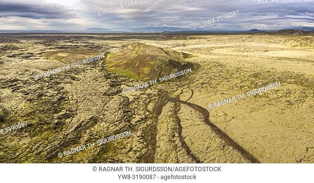 Lava fields, Mt. Lambafell, Reykjanes Peninsula, Iceland. This image is shot using a drone