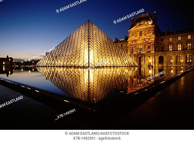 Paris  France  The Louvre & I M Pei's glass pyramid, Cour Napoleon