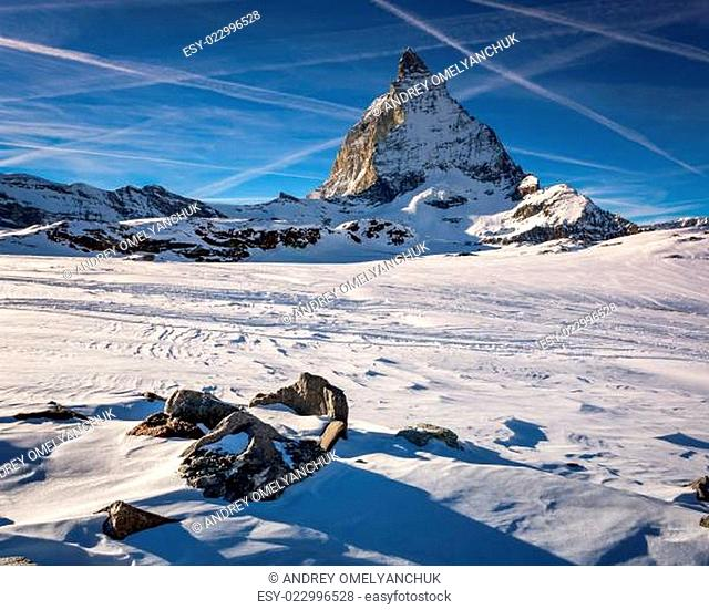 View of Matterhorn on a clear sunny day from the ski slope, Zermatt, Switzerland