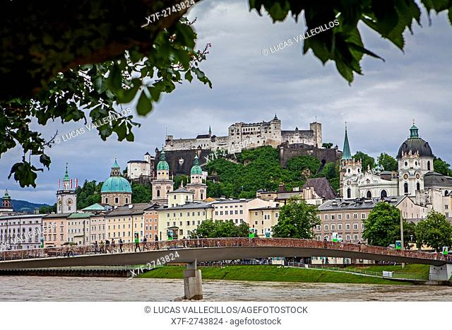 Panoramic view of Salzburg castle and Old Town, Austria