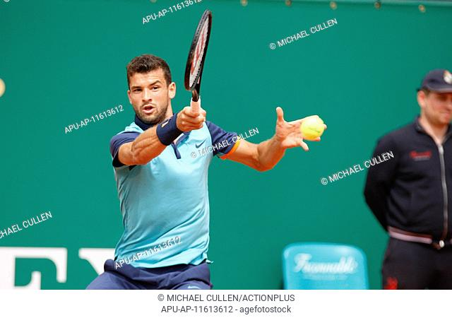 2015 Monaco Masters Tennis Tournament Apr 17th. 17.04.2015 Monte Carlo, Monaco. Grigor Dimitrov in action against Gael Monfils