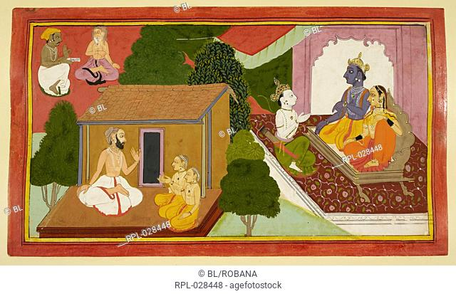 Valmiki teaching the epic to Kusha and Lava is depicted in the foreground. The left background shows the spread of the epic to all the sages and ascetics