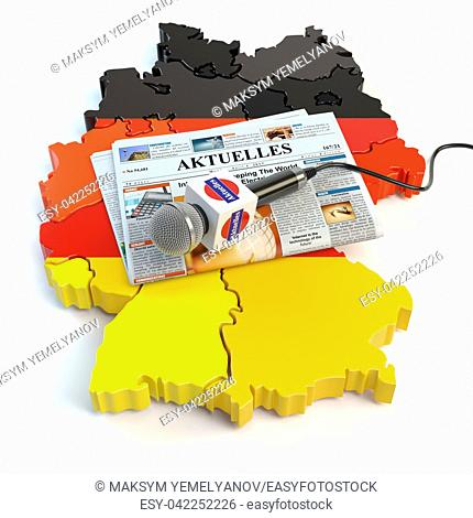 "German news, press and journalism concept. Microphone and newspaper with headline """"Aktuelles"""" (german for: news)on the map in colors of the flag of Germany"