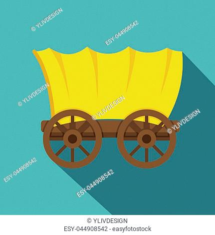 Ancient western covered wagon icon. Flat illustration of ancient western covered wagon vector icon for web on baby blue background