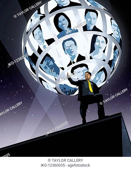 Businessman struggling to support global network on shoulders