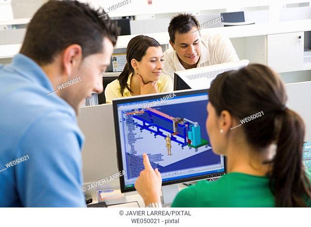 Fatronik Research Centre, San Sebastian Technological Park, Donostia, Gipuzkoa, Basque Country. Designers working with 3D-CAD design systems