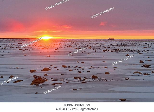 Sunset skies over Hudson Bay at freeze-up
