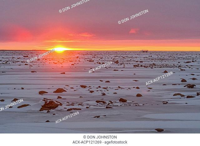 Sunset skies over Hudson Bay at freeze-up