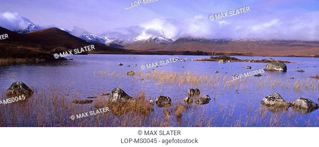 Scotland, Argyll and Bute, Rannoch Moor, Panoramic view of moor with Black Mountains in background