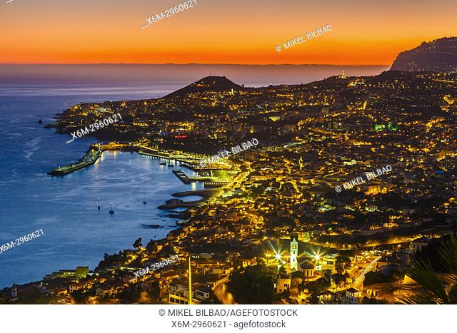 City view at sunset from Las Nieves viewpoint. Funchal. Madeira, Portugal, Europe