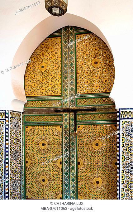 Morocco, Fes, Medina, Souk, magnificent entrance of a mosque