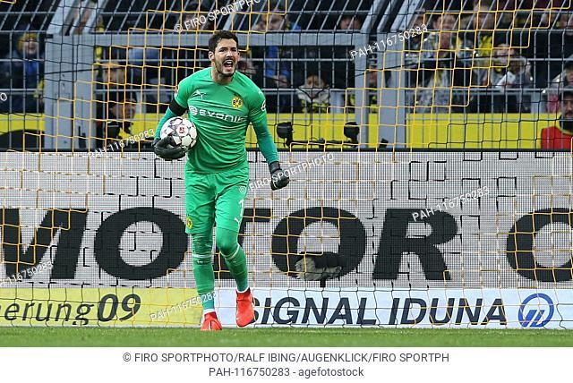 firo: 09.02.2019, football, 1.Bundesliga, season 2018/2019, BVB, Borussia Dortmund - TSG Hoffenheim goalkeeper Roman BURKI, BVB, cries, screams